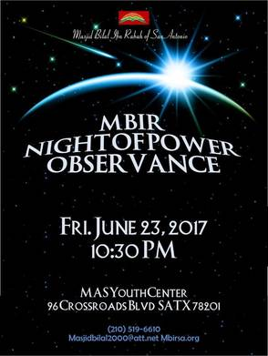 Night of Power MAS Youth Center June 23 10:30pm