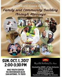 Family and Community Building Through Marriage Sunday Oct 1 2:00 MAS Youth Center